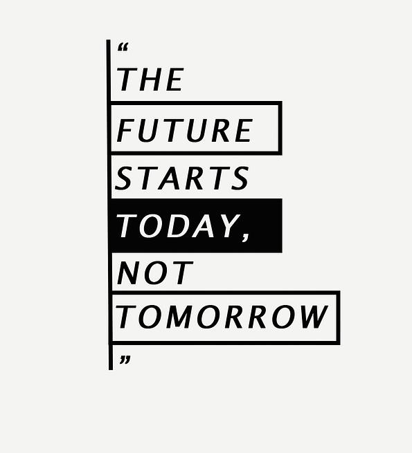 Future Starts design white
